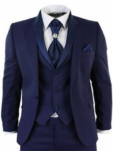 Brand New Groomsmen Peak Lapel Groom Tuxedos Navy Blue Men Suits Wedding Prom Dinner Best Man Blazer ( Jacket+Pants+Tie+Vest ) K688