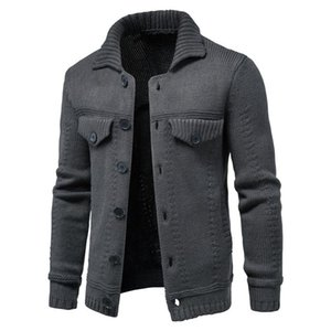 2020 New Tooling style Hommes Cardigan Casual Solide Couleur simple boutonnage Lapel Pull Hommes Automne Simple Slim Pull homme