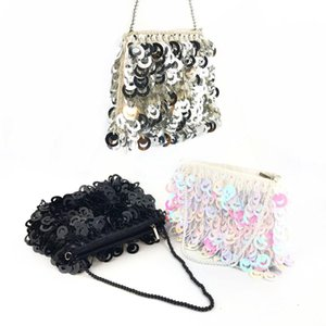 Brand Silver Black Sequined Handbag For Women Handmade bead Totes Clutch Wedding Bridemaid Evening Bag Chain Messenger Bag