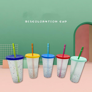 24oz Color Changing Confetti Cup Magic Plastic Drinking Tumblers with Lid and Straw Reusable Cold Cup Summer Beer Mugs CCA12574 50pcs