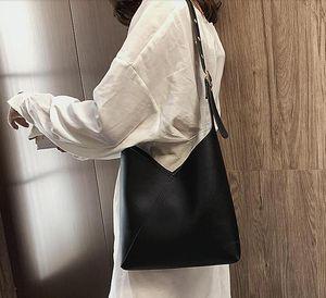 Stitching hit color PU leather bucket bag women summer messenger bag women shoulder messenger bag women travel handbag
