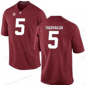 Cheap personalizzato Alabama Crimson Tide Tua Tagovailoa # 5 College Football Jersey Uomini cucito qualsiasi formato 2XS-5XL nome o il numero Maglia Top Quality
