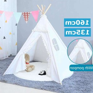 160 / 135cm Tipi Triângulo Kidstent Lona dormindo Dome Play-tenda Teepee House Wigwam Room Children's Barrade Game-house