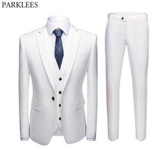 Men's Suits & Blazers 3pcs Men White Suit One Button Slim Fit Blazer With Pants Business Wedding Groom Jacket Vest Costume Homme Mariage1