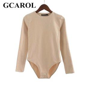 GCAROL Kadınlar Bodysuits Bikini Alt Kapakları ile Streç İnce Euro Tarzı Tam Kollu O-Boyun Temel Bodysuits Y200401