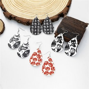 Leather Drop Earrings Halloween Pumpkin Ghost Print Earrings Simple Teardrop Earring Vintage Leaf Earring Women Fashion Jewelry RRA3684