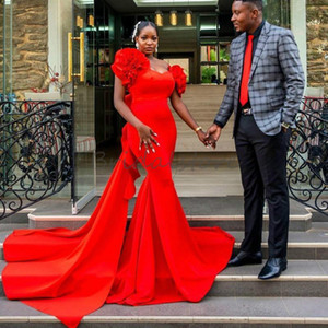 Plus Size Black Girls Mermaid Prom Dresses Elegant Red Satin Long Formal Evening Dress 2020 African Tight Prom Gowns With Tail vestidos