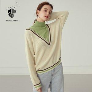 Fansilanen paperwork старинные водолазки вязаный свитер womne осень осень зима негабаритная белая пуловер трикотаж элегантный джемпер