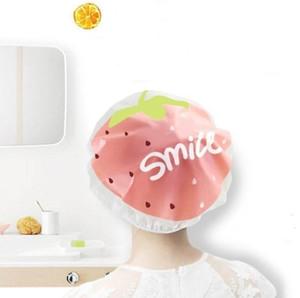 Lovely Cute Fruit Shower Cap Strawberry Watermelon Pattern Waterproof Shower Bath Cap Saunas Spa Hats for Women Girls SN1971