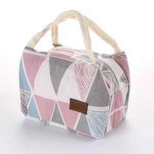Cotton Linen Fashion Thermal Insulation Waterproof Portable Food Lunch Bag Striped pattern portable lady Storage bag