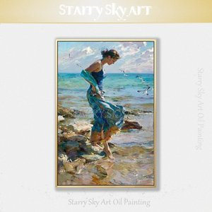Mükemmel Sanatçı Mavi Elbise Petrol Wall Art dwtD için # Boyama Plaj Oil üzerinde Tuval Güzellik Lady Yürüyüş üstünde resim ile Lady El boyaması