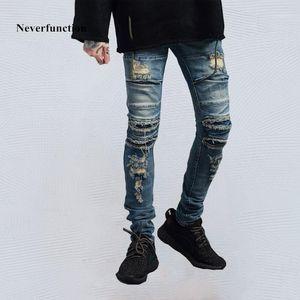 NeverFunction Men Slim Fit Biker Jeans Hip Hop Vintage Destroy Rock Ripped Cotton Motocicleta Motocicleta Moda Denim Pantalones Pantalones Pantalones1