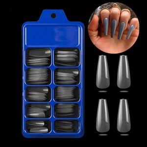 100 adet Uzun Balerin Çiviler Temizle Tabut Sahte Çiviler İpuçları ABS Tam Kapak Sivri Fasle Çiviler Manikür Charms
