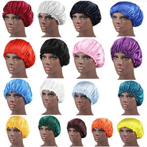 New Solid Color Silk Satin Night Hat Women Head Cover Sleep Caps Bonnet Hair Care Fashion Accessories . .
