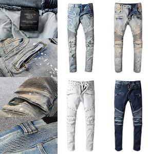 Designe Jeans di alta qualità Designe Jeans Distressed Moto Motorcycle Biker Jeans Rock Skinny Strappato Hole Stripe Famoso Brand Denim Pants