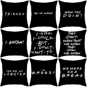 skin Friends peach pillow case new black letter series square sofa cushion cover