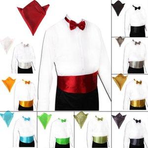 Gentleman Cummerbund Sealing Handkerchief Pocket Bowtie Present Colors Full Belt Business Dress Square Waist Christmas For Men 23 Qfwgl