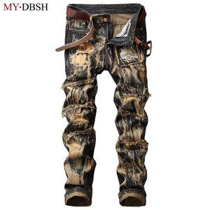 MYDBSH marca de diseño Vaqueros ajustados Hombres del ajustado de los rasgados pantalones de mezclilla de agujeros para hombre apenada Streetwear lavan vaqueros clásicos