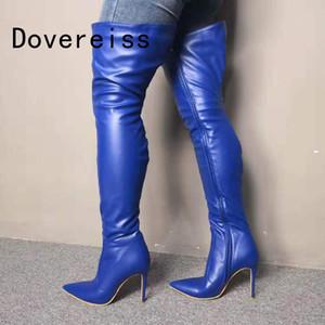 Dovereiss Mode Femmes Chaussures Hiver Pointu sexy Toe Zipper nouvelle couleur bleue pure sur les talons des bottes du genou 35-47
