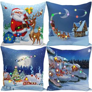 Natal Fada Luzes LED Capa de Almofada Polyester curto Plush Pillow Covers presentes Decoração de Natal da rena Blue Sky Pillow