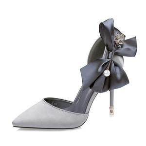 Высоких каблуках сандалии женские летние новой корейской версии кончике смычка Банкетный обувь Pearl Rhinestone Свадебная обувь Red Fenty денди