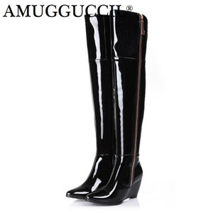 2020 New Plus Big Size 31-45 Black White Red Zip Sexy Over The Knee Thigh High Autumn Winter Wedges Ladies Women Boot X1712