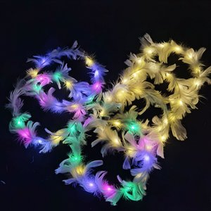 LED Luminous Feather Head Anel Novo Pelúcia LED Headdress Wreath Luminous Toy Party Decorações Suprimentos FFE4528
