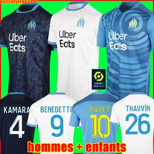 Camiseta de fútbol Olympique De Marseille 20 21 OM 2020 2021 maillot foot PAYET THAUVIN BENEDETTO maillots camiseta de fútbol chandal hombres + kit de niños tercero de la
