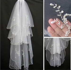 Bridal Veil 2020 New Hotsale Veils for Bride Edge Crystal Beaded Wedding Veil Veus de noiva Cathedral Wedding Veil