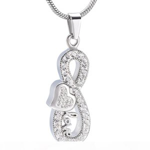 IJD9988 Infinity Love Pet Human Cremation Pendant Keepsake Urn Necklace Memorial Remains Locket for Ashes