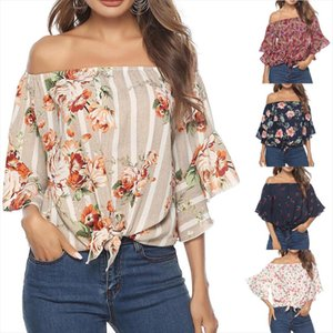 2020 Blouse Women Summer Off Shoulder Tops Womens Casual Print Tees Tie Cute Sexy Loose Tops Blouse blusas mujer