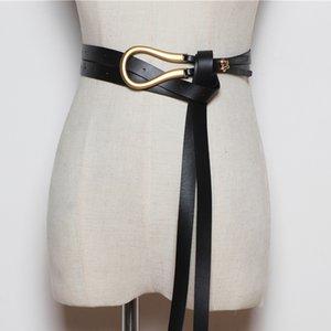 Новая мода свет Вес золота Пряжка сплава Knotted Твердая Длинные поясами Женщины Узел пояса Мягкие Pu кожаный пояс тела Coat