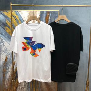 Yeni Kısa Kollu T-Shirt Erken Bahar 20 Avrupa ve Amerika Büyük Boy Çift Strand Pamuk Kumaş Dijital Baskı Süreci 021