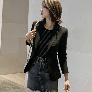 Женские костюмы Blazers S-2XL весна стройный с длинным рукавом Blazer для женщин 2021 повседневная костюм пальто черная куртка офисная одежда белые дамы