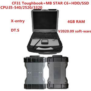 MB ستار C6 SD ربط C6 الأحدث لينة وير 2020.09 /X-en.try/DTS أداة التشخيص مع CF31 I5-2520 / 3320 لاب توب