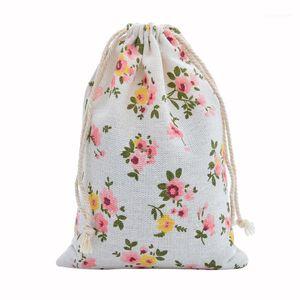 50pcs lin coton sac 10x14cm Muslin Cosmétiques Cadeaux Bijoux Bijoux Sacs d'emballage de cordon mignon Sac cadeau de cordon Pochettes1