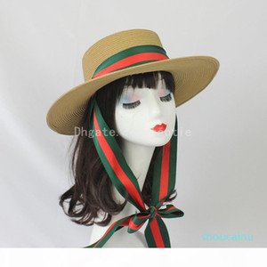 Women Summer Fashion Flat Top Straw Hat Red And Green Stripe Ribbon Straw Hat Windproof Sun Protection Lady Big Straw Hat