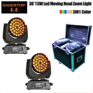 Hareketli LED Başkanı Işık RGBWA 5IN1 Paketi + 2in1 Uçuş durum Moving Head 36X15W Işın + Yıkama + Zoom | Yol durumda | davayı Raf | Çin uçuş vaka 2in1 Paketi