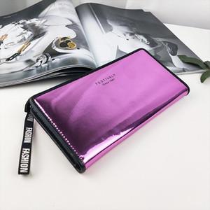 New women wallet glossy laser handbag ladies wallet long fold fashion coin purse mobile phone bag capacity card holder portable