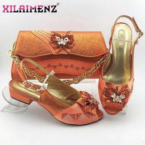 Neueste 2020 Schuhe und Tasche Set Italian Heels italienische Designschuhe mit passender Tasche für Gartenparty in Orange Farbe1