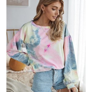 2020 Autumn Womens T shirt Multicolor Casual Long Sleeve Round Collar Sweatshirt Loose Printed Tops dyeing Shirt Oversize