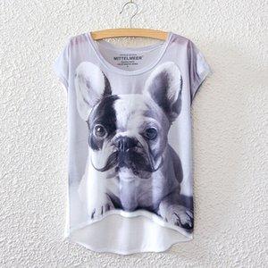 여름 새로운 스타일의 수염 shappie 개 T 셔츠 T-shir에 대한 짧은 소매 인쇄 여성 여름 새로운 스타일의 수염 shappie 개에 대한 짧은 소매 인쇄하기