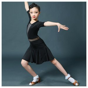 Leotards Suit Latin Dance Dress for Girls Solid Black Latin Dance Competition Dresses Salsa Ballroom Costumes Girls