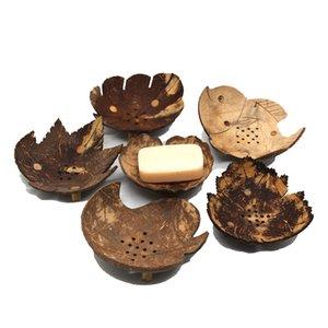 صحون الصابون الإبداعية من تايلاند ريترو خشبي حمام صابون جوز الهند أطباق شكل الصابون حامل DIY الحرف EWB2421