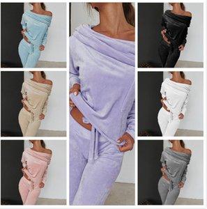 Womens Two Piece Outfits Designer Velvet Pescoço da colher manga comprida camiseta Calças conjuntos Outono Inverno senhoras da alta qualidade ternos Casual