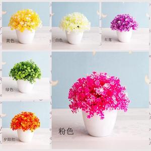 14x14cm Artificial Grass Ball White Potted Plants Bonsai Home Garden Hotel Office Living Room Desktop Mini Bonsai Party Supply