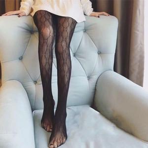 Partito lettera classica calzamaglia di modo stretto libero catena nera completa Collant Sexy Night Club calze di seta Calze
