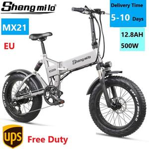EU SHENGMILO MX21 20-дюймовый город складной электрический 500 Вт горный велосипед 4.0 толстый шин велосипед 48 В горный E-велосипедный пляжный крейсер