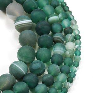 1trand lot 4 6 8 10 12 mm de bandelettes vertes mates Agate Beads Pierre Rond perles en vrac pour bricolage Bracelet Bijoux Fournitures H JLLWZC