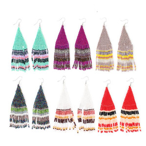 Women Tassel Earring Bohemian Vintage Earrings Ladies Fashion Bohemia Earings Beaded Handmade Female Earrings Boho Women Ear Studs ZYY516
